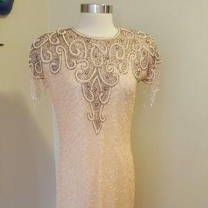 Vintage Lew Magram beaded mermaid style gown M